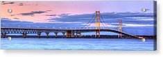 Mackinac Bridge In Evening Acrylic Print by Twenty Two North Photography