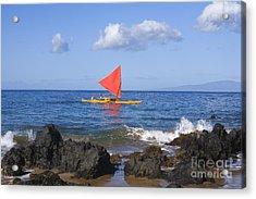 Maui Sailing Canoe Acrylic Print by Ron Dahlquist - Printscapes