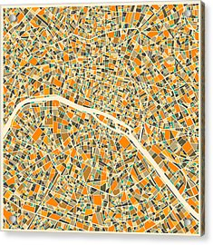 Paris Map Acrylic Print by Jazzberry Blue
