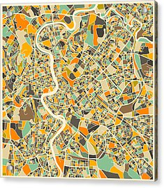 Rome Map Acrylic Print by Jazzberry Blue