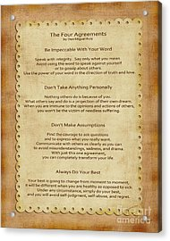 41- The Four Agreements Acrylic Print by Joseph Keane