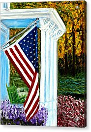 4th Of July American Flag Home Of The Brave Acrylic Print by Katy Hawk
