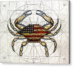 4th Of July Crab Acrylic Print by Charles Harden