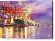 Container Cargo Freight Ship  Acrylic Print by Anek Suwannaphoom