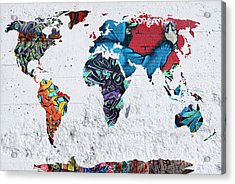 Map Of The World Acrylic Print by Mark Ashkenazi