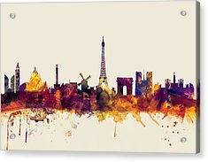 Paris France Skyline Acrylic Print by Michael Tompsett