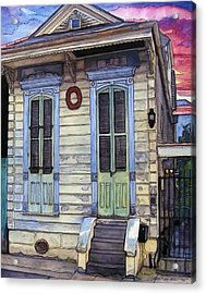 5  Shotgun House With Red Wreath Acrylic Print by John Boles