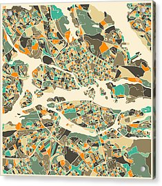 Stockholm Map Acrylic Print by Jazzberry Blue