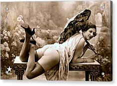 Vintage Nude Postcard Image Acrylic Print by Unknown