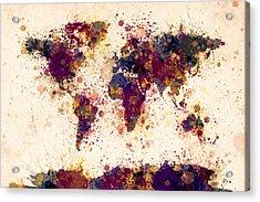 World Map Paint Splashes Acrylic Print by Michael Tompsett