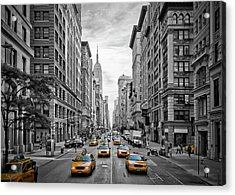 5th Avenue Yellow Cabs - Nyc Acrylic Print by Melanie Viola