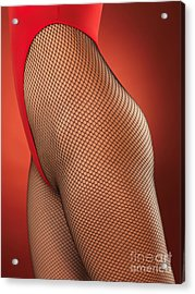 Sexy Young Woman In High Cut Swimsuit Acrylic Print by Oleksiy Maksymenko