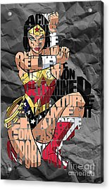 Wonder Woman Inspirational Power And Strength Through Words Acrylic Print by Marvin Blaine