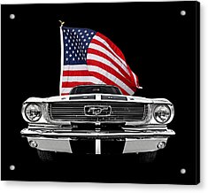 66 Mustang With U.s. Flag On Black Acrylic Print by Gill Billington