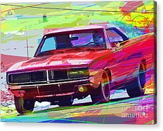 69 Dodge Charger  Acrylic Print by David Lloyd Glover