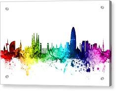 Barcelona Spain Skyline Acrylic Print by Michael Tompsett