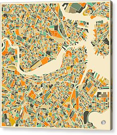 Boston Map Acrylic Print by Jazzberry Blue