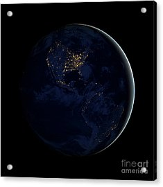 Full Earth At Night Showing City Lights Acrylic Print by Stocktrek Images