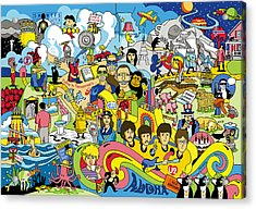 70 Illustrated Beatles' Song Titles Acrylic Print by Ron Magnes