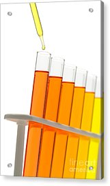Test Tubes In Science Research Lab Acrylic Print by Olivier Le Queinec