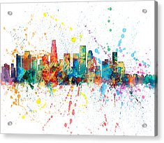 Los Angeles California Skyline Acrylic Print by Michael Tompsett
