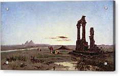 A Bedouin Encampment By A Ruined Temple  Acrylic Print by Alexandre Gabriel Decamps