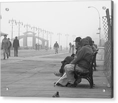A Bench At Coney Island Acrylic Print by Peter Aiello