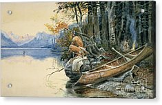 A Camp Site By The Lake Acrylic Print by Charles Marion Russell