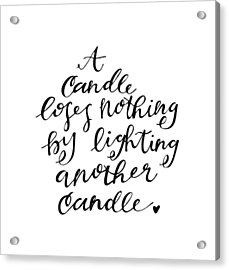 A Candle Acrylic Print by Nancy Ingersoll