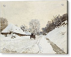 A Cart On The Snowy Road At Honfleur Acrylic Print by Claude Monet