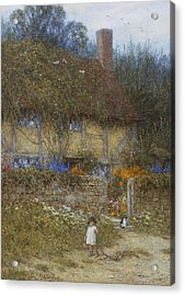 A Cottage Near Godalming Surrey Acrylic Print by Helen Allingham