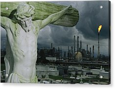A Crucifixion Statue In A Cemetery Acrylic Print by Joel Sartore