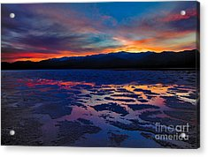 A Death Valley Sunset In The Badwater Basin Acrylic Print by Kim Michaels