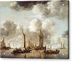 A Dutch Yacht Firing A Salute As A Barge Pulls Away Acrylic Print by Jan van de Capelle