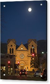 A Full Moon Rises Over  Cathedral Acrylic Print by Stephen St. John