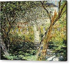 A Garden In Vetheuil Acrylic Print by Claude Monet