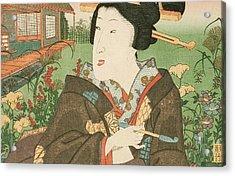 A Geisha With A Pipe Acrylic Print by Utagawa Kunisada