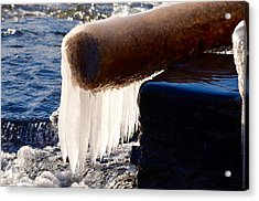 A Gift Of A Ice Covered Log Acrylic Print by Hella Buchheim