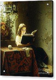 A Girl Reading Acrylic Print by Johann Georg Meyer