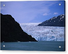 A Glacier Spills Into The Prince Acrylic Print by Stacy Gold