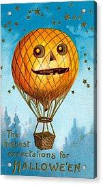 A Halloween Pumpkin Hot Air Balloon Acrylic Print by Ellen Hattie Clapsaddle