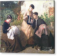 A Honiton Lace Manufactory Acrylic Print by Frederick Richard Pickersgill