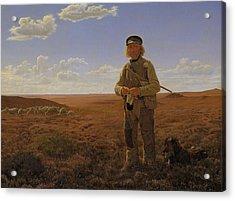 A Jutland Shepherd On The Moors Acrylic Print by Frederik Vermehren