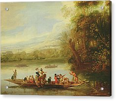 A Landscape With A Crowded Ferry Crossing The Water In The Foreground  Acrylic Print by Willem Schellinks