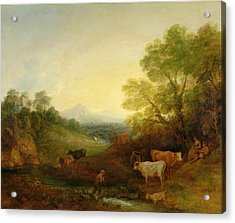 A Landscape With Cattle And Figures By A Stream And A Distant Bridge Acrylic Print by Thomas Gainsborough