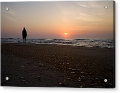 A Lone Figure Enjoys The Ocean Sunrise Acrylic Print by Stephen St. John