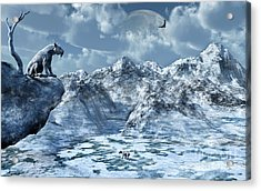 A Lone Sabre Toothed Tiger Perched Acrylic Print by Mark Stevenson