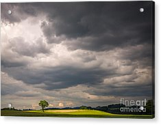 A Lone Tree Under A Stormy Sky Acrylic Print by Ning Mosberger-Tang