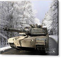 A M-1a Abrams Tank Drives Acrylic Print by Stocktrek Images