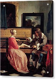 A Man And A Woman Seated By A Virginal Acrylic Print by Gabriel Metsu